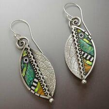 Boho Green Leaf Drop Dangle Hook Earrings Ethnic Abstract Women Party Jewelry