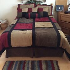 8 piece  Burgundy Brown Beige Micro Suave Patchwork FULL Size Bedding Set