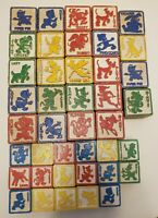 Vintage Walt Disney's Disneyland 41 Wood Alphabet Blocks Baby Toys Set Halsam