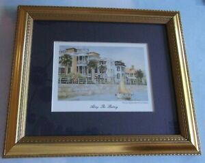 Charleston SC ALONG THE BATTERY Watercolor Print by Emerson Framed/Matted