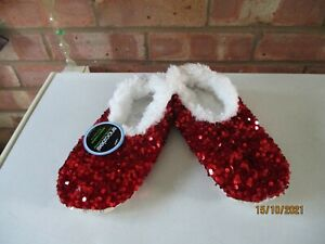 Snoozies! Slippers Bling Sequins - Red - Size Large 6/7 – New
