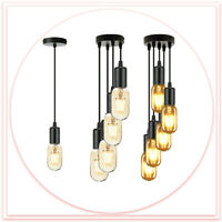 E27 Ceiling Light Fitting Rose Vintage Industrial Pendant Lamp Bulb Holder UK