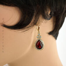 DANA BUCHMAN Faux Crystal CLEAR & RED EARRINGS Gold Tone TEAR DROP Dangle