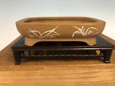 "Handmade Etched Shohin Size Bonsai Tree Pot By Maruhei 5 1/8"""