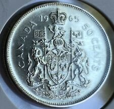 1965 Canadian 50 Cent Coin 80% Silver 11.66g Fine+ (AA106) Canada Currency