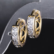 HUCHE Vintage Style 18K Gold Filled Diamond Sapphire Huggies Women Daily Earring