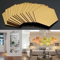 12X 3D GAirror Hexagon Vinyl Removable Wall Sticker Decal Home Decor Art DIY GA