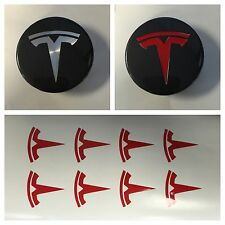 8pc Red TESLA T Center Cap Vinyl Overlay Stickers Decal Logo Overlay Graphics