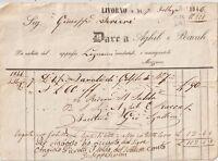 ITALIA 1846 LIVORNO RICEVUTA COMMERCIALE X LEGNAME CONSEGNATO A MEZZANO.