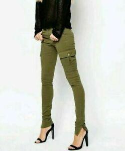 Noisy May Khaki Green Appleton Skinny Fit Cargo Trousers Various Sizes BNWT