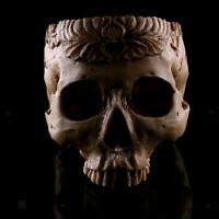 Human Skull Head Flower Pot Planter Bed Box Container Replica Home Pub Decor