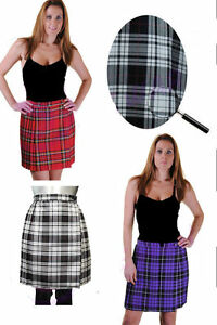 "LADIES WOMENS 18"" PLEATED WRAPPED OVER BUTTONED KILT TARTAN SKIRT UK SIZE 8-18"
