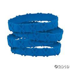 Cancer Awareness Blue Ribbon POP OUT Bracelets  Set of 24 Colon Cancer