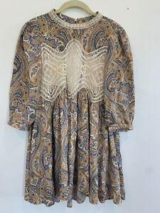 Jodifl Boho Cream Blue Lace Paisley Top Blouse Shirt Small