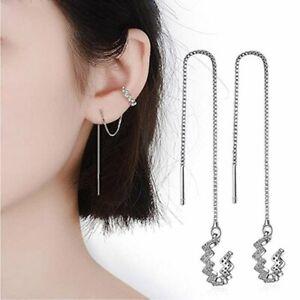 Crystal Long Tassel Silver Zircon Earrings Clip Cuff Threader Women Fashion Gift