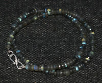 """Labradorite 925 Sterling Silver 12-50"""" Necklace 5-6 mm Round Faceted Beads JN514"""