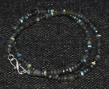 """Labradorite 925 Sterling Silver 12-50"""" Necklace 5-6 mm Round Faceted Beads VBV55"""
