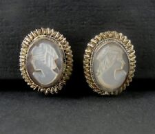 Vintage Mother of Pearl Cameo 800 Silver Clip On EARRINGS