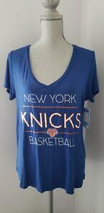 Women's 5th & Ocean by New Era Royal New York Knicks NBA VNECK T-Shirt -LARGE