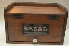 Vintage Wood Bread Box W/Glass Front