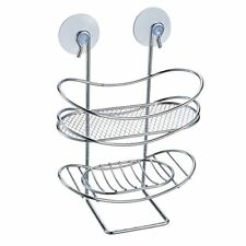 MSV 140608 - Portaoggetti ovale per doccia, con ventose, in metallo (t0V)