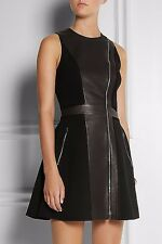 Rag & Bone Black Leather Suede Silk Rae Crepe Flare Dress Women's Size XS EUR XS