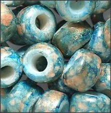 Marble Teal Color Glass Crow Beads (30)