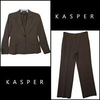 Lovely Kasper Women Career Formal Pant & Blazer Suit Brown Size 8Nwot