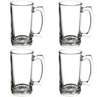 [4 PACK] Beer Mug with Handle 17 oz - Jumbo, Heavy, Drinking Glass, Sports, Bar