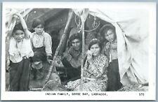 INDIAN FAMILY GOOSE BAY LABRADOR CANADA ANTIQUE REAL PHOTO POSTCARD RPPC
