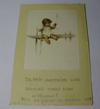 K241 - 1905 BABY SMOKING Blowing Smoke Rings - CHILD CHERUB POSTCARD - Stamp