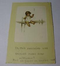 K241 - 1905 BABY SMOKING Blowing Smoke Rings - CHILD CHERUB POSTCARD - Stamp
