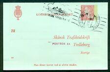"""DENMARK 50ore  on 35ore #114 """"Angle5"""" Letter card (78) preprinted Skansk used"""