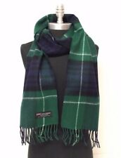 New 100% CASHMERE SCARF SCOTLAND PLAID DESIGN Green/Navy/Black/White SOFT UNISEX