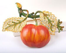 1950s Vintage Signed Weiss Enamel and Rhinestone Apple Brooch