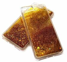For iPhone 7 PLUS Gold Glitter Blue Stars Liquid Waterfall Sparkle Silicone Case