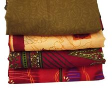 INDIAN VINTAGE LOT OF 4 SAREE GARDEN SILK FABRIC CRAFT ANTIQUE MULTICOLOR SARI