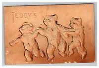 Embossed Teddy Bear's Dancing Lined in Glitter c1910 Postcard J6