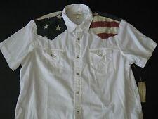 Denim & Supply Ralph Lauren Men's White Chambray Cowboy Flag Shirt M