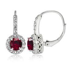 Round Ruby Sterling Silver Fine Earrings