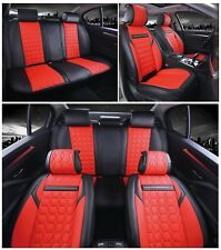 Deluxe Red PU Leather Full Set Seat Covers Padded For Honda Civic Accord CR-V