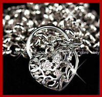 9K YELLOW ROSE WHITE SOLID GOLD FILLED BELCHER HEART PADLOCK RING LADY NECKLACE