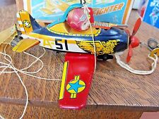 NOMURA FIGHTER 15-A TIN LITHO W/U TOY AIRPLANE CELLULOID PILOT BOX pre war JAPAN