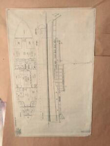"Naval Architecture ""Diesel Power Yacht, 1930"" Vellum Ink Orig C.D. Mabry, 43x28"