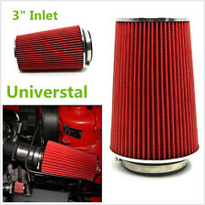"""New 3"""" Inlet Car Truck Long Ram Cold Air Intake Filter Cone Filter Red KN Types"""