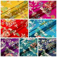Satin Faux Silk Fabric Chinese Begonia Flower Damask Brocade Bag Costume Vintage