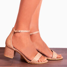 BLUSH PINK GLITTER LOW HEELED ANKLE STRAP STRAPPY SANDALS PEEP TOES SHOES SIZE