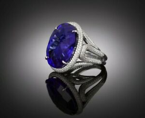Women's Ring 925 Sterling Silver Blue Oval Halo CZ Half Studded Shank Gift her