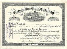 1923 PENNSYLVANIA Lansdowne Trust Company Stock Certificate