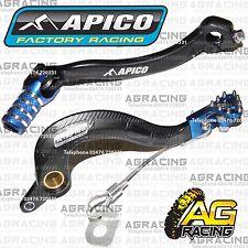 Apico Black Blue Rear Brake & Gear Pedal Lever For Yamaha YZ 250F 2015 Motocross